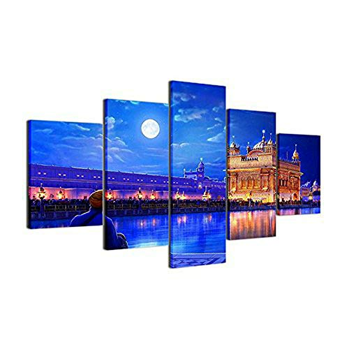 ([LARGE] Premium Quality Canvas Printed Wall Art Poster 5 Pieces / 5 Pannel Wall Decor Golden Temple Drawing Painting, Home Decor Pictures - With Wooden Frame(60
