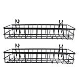 Fityle Pack 2 Wire Hanging Basket, Grid Panel Dispaly Wall Decor 40x10x5cm