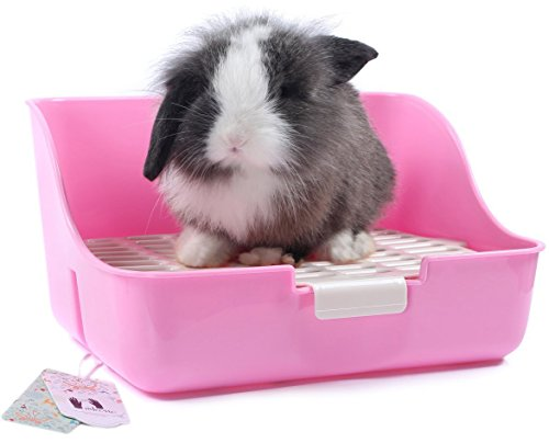 Mkono Rabbit Cage Litter Box Potty Trainer for Adult Guinea Pig Ferret Small Animals, 11 Inches (Random Color)