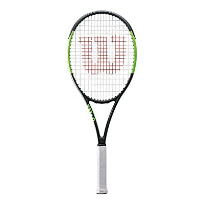Wilson Blade Team 99 Black/Green Entry Level Performance Tennis Racquet Strung with Custom Colors (Best Racket for Spin and Power)