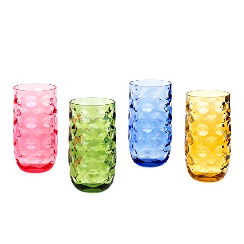 Cupture Impression Plastic Tumblers BPA Free, 20 oz, 4-Pack (Assorted Colors)