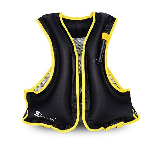 (OMOUBOI  Adult Portable Inflatable Floatable Vest Swim vest, Life Jackets, Life Vest, Snorkel Vest, Snorkeling, Fishing Vest, Swimming,Drifting,Surfing, Diving, Boating, Kayaking, Canyoning (black))
