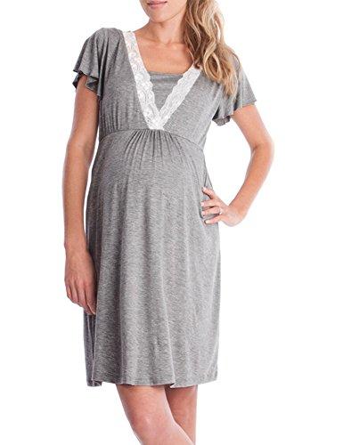 zhenwei Women's Maternity Dress Short Sleeve Nursing Nightgown for Breastfeeding Sleepwear (XL, 1 Style Dark Gray) by zhenwei