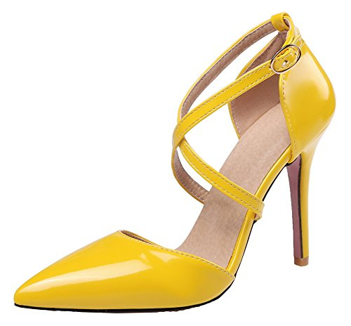WeenFashion Closed Heels Solid Buckle Leather Patent Toe Sandals Yellow High Women's 6rI5qr