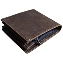 Men's Genuine Leather Bifold Wallet With Long Zipper Pocket Brown Pocket Wallet