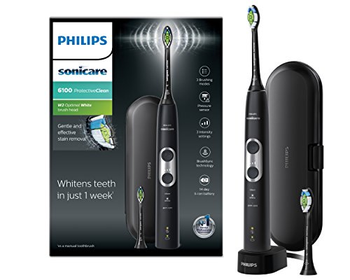 Philips Sonicare ProtectiveClean 6100 Electric Toothbrush with Travel Case, 3 x...