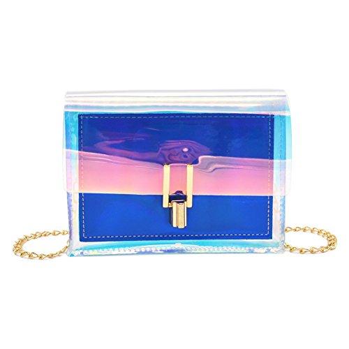 Anlydia Shiny Bling Holographic Square Chain Bag Casual Crossbody Bag Shoulder Bag (Square Purse)
