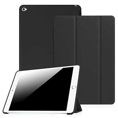 Fintie iPad Air 2 Case - Slim Lightweight Tri-Fold SmartShell with Soft Gel TPU Back Cover Supports Auto Wake / Sleep for iPad Air 2 iPad 6 2014 Model, Black - Ipad Air Gel Keyboard Case