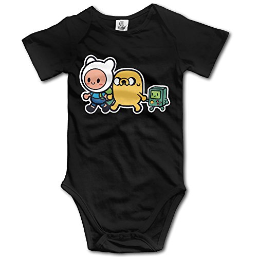 Infant Adventure Time Family Short Sleeve Unisex Baby Jumpsuit Onesie Black 6 M - Adventure Time Baby Clothes