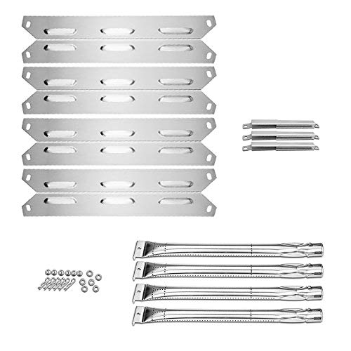 Uniflasy Grill Heat Plates Shield Tent, Burner Tube and Crossover Channel Tube Replacement Parts Kit for Kenmore 146.34611410, 146.23678310, 146.10016510, 146.16197210, BBQ Pro 146.2367631 Gas Grills