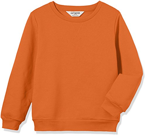 Kid Nation Kids' Slouchy Solid Brushed Fleece Sweatshirt for Boys Girls S Orange -