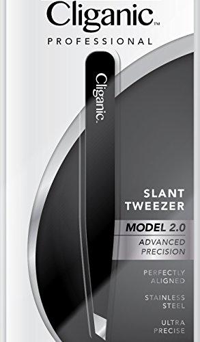 Cliganic Professional Slant Tweezers - Precision Tweezers for Eyebrows | Hair Tweezer for Men & Women, Stainless Steel | Cliganic 90 Days Warranty