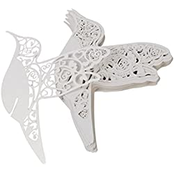 WINOMO 50pcs Table Name Place Card Wine Glass Marker (White Laser Cut Heart Bird)