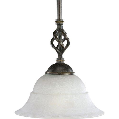 - Progress Lighting P5000-84 1-Light Stem-Hung Mini-Pendant with Etched Watermark Glass, Espresso