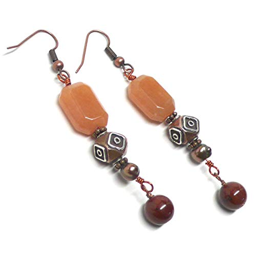 Bali-Style Copper Sterling Silver Orange Aventurine Earrings