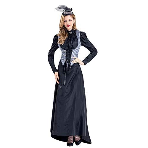 LOKODO Women Halloween Cosplay Witch Costume Vintage Long Sleeve Maxi Dress Black Christening Gown Costume Black S
