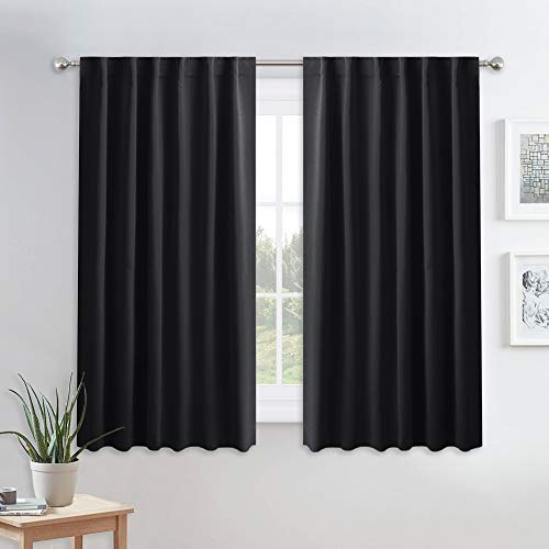 (PONY DANCE Blackout Window Curtains - Insulating Against Drafts Drapes Noise Reducing Thermal Insulated Back Tab/Rod Pocket Draperie, 52 x 45-inch Long, Black, Double)