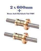 2 PCs 600mm 3D Printer T8 8mm Lead Screw Rod + 2 PCs brass anti backlash Nut TR8 by Alab