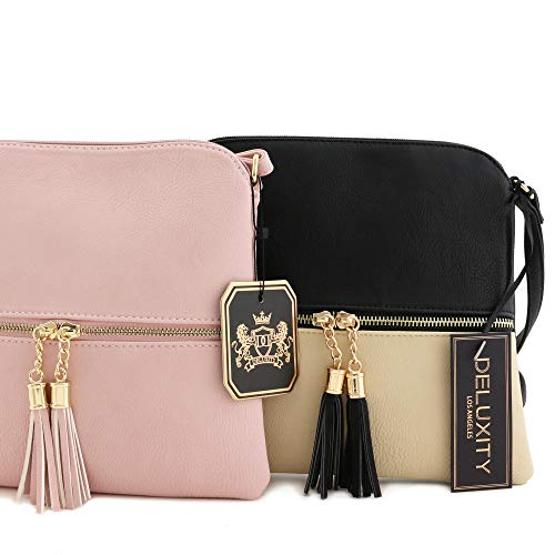 Lightweight Colorblock Medium Crossbody Bag with Tassel (Blush/White) by DELUXITY (Image #6)