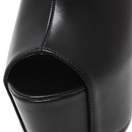 AgooLar Women's Zipper Peep Toe High-Heels PU Solid Sandals Black D0AjWhnf0