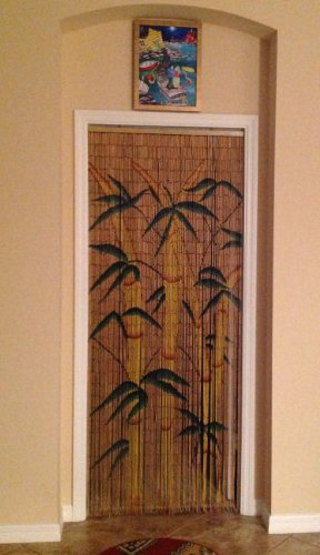 Tropical bamboo stalks beaded curtain 125 strands for Hand painted bamboo beaded curtains
