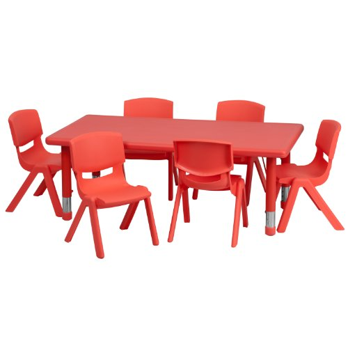 - Flash Furniture 24''W x 48''L Rectangular Red Plastic Height Adjustable Activity Table Set with 6 Chairs