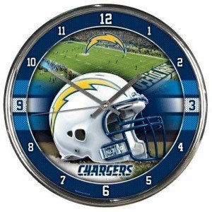 Los Angeles Chargers Clock Wall Style Round Chrome from Sports Collectibles