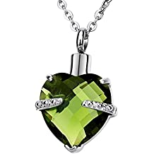 12 Colors Love Heart Birthstone Crystal Cremation Urn Necklace Memorial Pendant Keepsake Jewelry