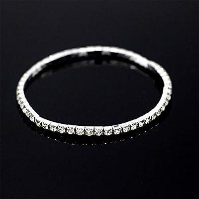 Mooinn Crystal Anklet Bracelets for Women Rhinestone Tennis Stretch Ankle Bracelets Foot Chain Jewelry