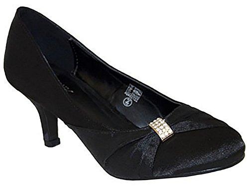 3 Taille Mariée Parti 8 Dames De Prom Mariage De Faible Bal UK Chaussures Satin De Intelligent Chaton Talon 3 Noir Diamante La Chix xHq1w8OxT