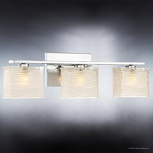 Luxury Modern Bathroom Light, Medium Size: 6.75''H x 22.5''W, with Style Elements, Polished Chrome Finish and Sandblasted Inner, Clear Wavy Outer Glass, G9 LED Technology, UQL2723 by Urban Ambiance by Urban Ambiance (Image #2)