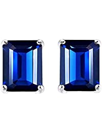 Emerald Shaped Simulated Blue Sapphire Stud Earrings In Gold Over Sterling Silver (2.11 Ct)