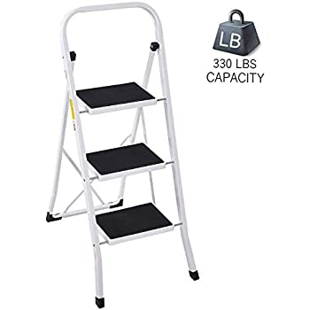 Lucky Tree Foldable 3 Step Ladder Anti Slip Wide Step