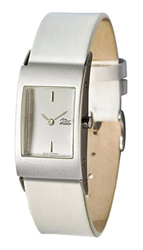 Moog Paris Dome First Women's Watch with Silver Dial, Interchangable White Strap in Genuine Leather - M00011-001