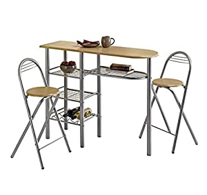 Modern dining room table and 2 chairs set breakfast bar tables bistro kitchen home budget Home bar furniture amazon