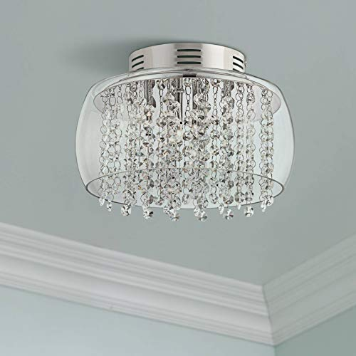Crystal Rainfall Modern Ceiling Light Flush Mount Fixture Chrome 11