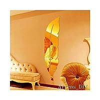 Alrens_DIY (TM) 6pcs = 1 Pluma Superficie del espejo Pegatinas de pared de cristal DIY Acrílico Calcomanías caseras para el hogar en 3D Decoración de papel de pared Adesivo de parede Plata y oro (oro)