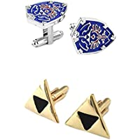 Outlander Gear Video Game 2 Pairs Legend of Zelda Blue Shield & Gold Triforce Superhero 2018 Games Theme Groom Groomsmen Mens Boys Cufflinks