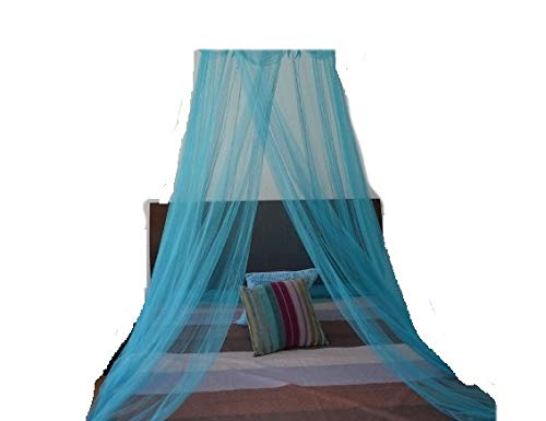 Beds For Bedding Canopy (OctoRose Round Hoop Bed Canopy Netting Mosquito Net Fit Crib, Twin, Full, Queen, King (Teal Blue))