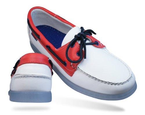 Sebago Spinnaker Patriot UK Flag hommes Cuir Boat Chaussures - blanc
