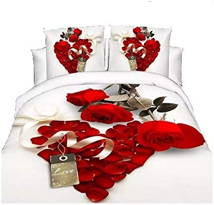Heave 3d Hot White Red Rose Bedding Set Diamonds Duvet Cover Queen Size Bed Sheet Pillow Cases Amazon Ca Home Kitchen