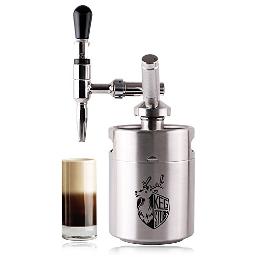 (KEG STORM Nitro Cold Brew Coffee Maker 64 Ounce Mini Stainless Steel Keg Home brew coffee System Kit Best Choice of Diy Coffee Lovers)