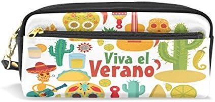 imobabyメキシコスカル音楽パーティーポータブルポーチPUレザー学校ペンケースStationary鉛筆バッグWater ProofコスメティックバッグメイクアップBeauty Case