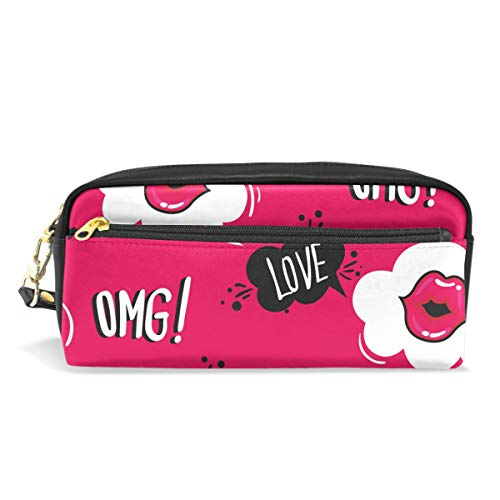 ne's Day Hipster Sexy Love Lips Kiss Pencil Case Pen Bag Stationery Pouch Purse Cosmetic Makeup Bag Zipper for Girls Boys Kids ()