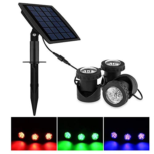 (ABEDOE Set of 3 Solar Powered Outdoor Spotlight RGB Color Changing Waterproof Underwater Submersible Lamps)