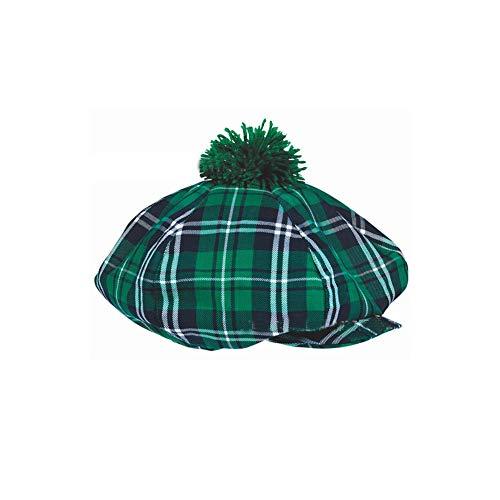 (S.Charma St. Patrick's Day Plaid Green Gatsby Hat Irish New Holiday Party Cap)