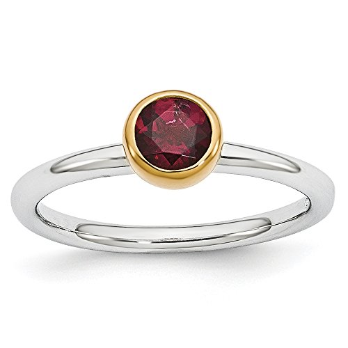 Two Tone Sterling Silver Stackable 5mm Rhodolite Garnet Ring Size 10 (Ring Garnet Raspberry)