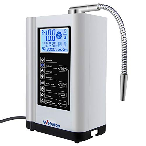 Webetop Water Ionizer Water Purifier Machine PH 3.5-10.5 Alkaline Acid Water Machine/7 Water Settings/up to -500mV ORP/6000 liters per Filter/Auto-Cleaning-Better Water Better Life