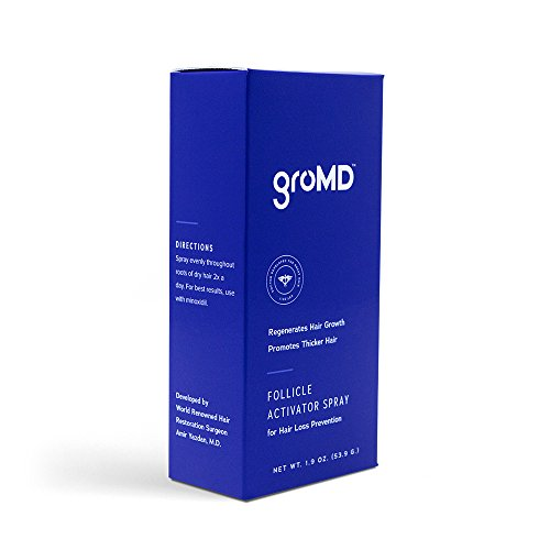 GroMD Follicle Activator Spray, Minimize Thinning & Prevent Hair Loss, Doctor-Developed Proprietary Blend of DHT Blockers, Copper Peptides, Caffeine & Niacinamide, For Men & (Hair Loss Treatment Spray)