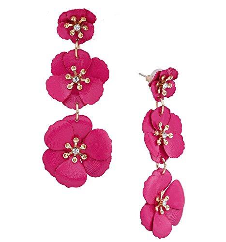 NVENF Flower Drop Earrings Triple Metal Matte Flower Dangle Earrings Petal Pierced Earrings for Women (Hot Pink)